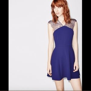 NEW $355 The Kooples Lace Crepe Fit & Flare Dress